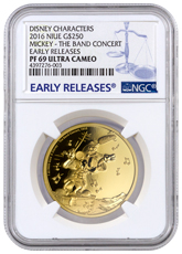 2016 Niue Disney Mickey Through the Ages - Band Concert 1 oz Gold Proof $250 NGC PF69 UC ER