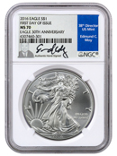 2016 American Silver Eagle | NGC MS70 First Day of Issue (Edmund Moy Signed Label)