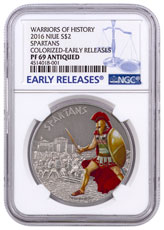 2016 Niue Warriors of History - Spartans 1 oz Silver Antiqued Colorized Proof $2 NGC PF69 ER