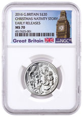 2016 Great Britain Christmas - Nativity Story 1/2 oz Silver £20 Coin NGC MS70 ER Exclusive Great Britain Label