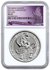 2016 Great Britain 2 oz Silver Queen's Beasts - Lion of England £5 NGC MS69 (Exclusive Queen's Beasts Label)