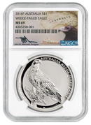 2016-P Australia 1 oz Silver Wedge-Tailed Eagle $1 NGC MS69 (Mercanti Signed Label)