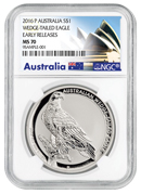2016-P Australia 1 oz Silver Wedge-Tailed Eagle $1 NGC MS70 ER (Exclusive Australia Label)