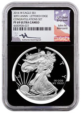 2016-W Proof American Silver Eagle Congratulations Set NGC PF69 UC Black Core Holder Mercanti Signed Label