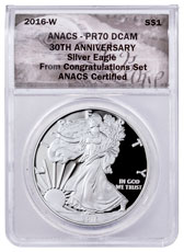 2016-W Proof American Silver Eagle Congratulations Set ANACS PR70 DCAM