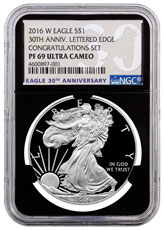 2016-W Proof American Silver Eagle Congratulations Set NGC PF69 UC Black Core Holder 30th Anniversary Label