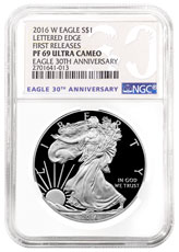 2016-W Proof American Silver Eagle NGC PF69 FR Special 30th Anniversary Label