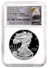 2016-W Proof American Silver Eagle NGC PF70 UC ER (30th Anniversary Label)
