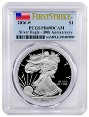 2016-W Proof American Silver Eagle PCGS PR69 DCAM FS (Flag Label)