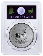 2017 South Africa 1 oz Silver Krugerrand Premium Uncirculated Coin PCGS SP69 1 of 1,000 Krugerrand UV Reveal Label