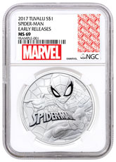 2017 Tuvalu Spider-Man 1 oz Silver Marvel Series $1 Coin NGC MS69 ER Exclusive Marvel Label