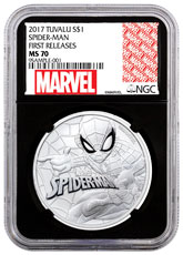2017 Tuvalu Spider-Man 1 oz Silver Marvel Series $1 Coin NGC MS70 FR Black Core Holder Exclusive Marvel Label