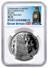 2017 Great Britain Landmarks of Britain - Big Ben 1 oz Silver £2 Coin NGC MS70 ER Exclusive Big Ben Label