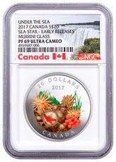 2017 Canada Under the Sea - Sea Star 1 oz Silver Colorized Proof $20 Coin Murrini Glass NGC PF69 UC ER