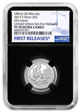 2017-S Silver Ellis Island National Monument Proof America the Beautiful Quarter From Limited Edition Silver Proof Set NGC PF70 UC FR Black Core Holder