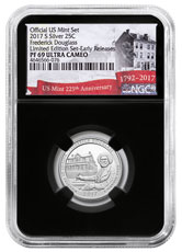 2017-S Silver Frederick Douglass National Historic Site Proof America the Beautiful Quarter From Limited Edition Silver Proof Set NGC PF69 UC ER Black Core Holder Exclusive U.S. Mint 225th Anniversary Label