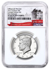 2017-S Silver Proof Kennedy Half Dollar From Limited Edition Silver Proof Set NGC PF69 UC FR Exclusive U.S. Mint 225th Anniversary Label