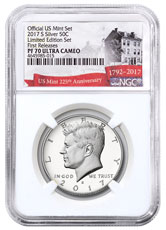 2017-S Silver Proof Kennedy Half Dollar From Limited Edition Silver Proof Set NGC PF70 UC FR Exclusive U.S. Mint 225th Anniversary Label