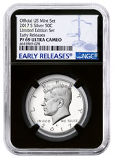 2017-S Silver Proof Kennedy Half Dollar From Limited Edition Silver Proof Set NGC PF69 UC ER Black Core Holder