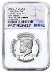 2017-S Silver Proof Kennedy Half Dollar From Limited Edition Silver Proof Set NGC PF69 UC FR