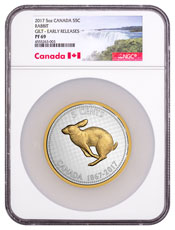 2017 Canada Big Coin Series - Alex Colville Designs - Rabbit 5 oz Silver Gilt Proof 5c Coin NGC PF69 ER Exclusive Canada Label