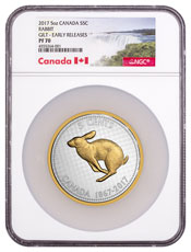 2017 Canada Big Coin Series - Alex Colville Designs - Rabbit 5 oz Silver Gilt Proof 5c Coin NGC PF70 ER Exclusive Canada Label