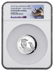 2017 Australia 5 oz High Relief Silver Kookaburra Proof $8 Coin NGC PF69 UC Exclusive Australia Label