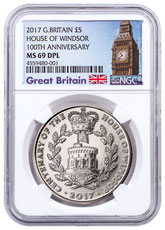 2017 Great Britain House of Windsor Centenary Clad £5 Coin NGC MS69 DPL Exclusive Big Ben Label