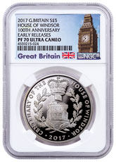 2017 Great Britain House of Windsor Centenary - Silver Proof Coin NGC PF70 UC Early Releases Exclusive Big Ben Label