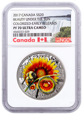 2017 Canada Mother Nature's Magnification - Beauty Under the Sun 1 oz Silver Proof $20 Coin NGC PF70 UC Early Releases Exclusive Canada Label