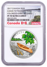 2017 Canada Canoe to Tranquil Times - 1 oz Silver Colorized Proof $20 Coin Wood Embellishment NGC PF70 UC ER Exclusive Canada Label