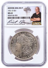 1921-D Morgan Silver Dollar Denver ANA 2017 NGC MS65 Exclusive Rick Harrison Signed Label