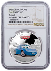 2017 Niue Disney Cars - Sally 1 oz Silver Colorized Proof $2 Coin NGC PF69 UC