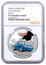 2017 Niue Disney Cars - Sally 1 oz Silver Colorized Proof $2 Coin NGC PF70 UC