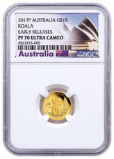 2017 Australia 1/10 oz Gold Koala - Proof $15 Coin NGC PF70 UC ER Exclusive Australia Label