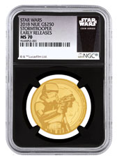 2018 Niue Star Wars Classic - Stormtrooper 1 oz Gold $250 Coin NGC MS70 ER Black Core Holder Exclusive Star Wars Label