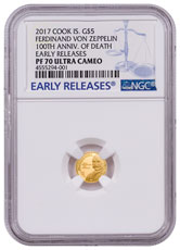 2017 Cook Islands Graf Zeppelin - 100th Anniversary 1/2 g Gold Proof $5 Coin NGC PF70 UC ER