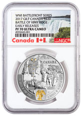 2017 Canada WW I Battlefront - Battle of Vimy Ridge 1 oz Silver Gilt Proof $20 Coin NGC PF70 UC ER Exclusive Canada Label