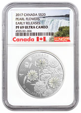 2017 Canada Pearl Flowers - Mother-of-Pearl 1 oz Silver Proof $20 Coin NGC PF69 UC ER Exclusive Canada Label