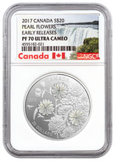 2017 Canada Pearl Flowers - Mother-of-Pearl 1 oz Silver Proof $20 Coin NGC PF70 UC ER (Exclusive Canada Label)