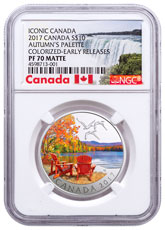 2017 Canada Iconic Canada - Autumn's Palette 1/2 oz Silver Colorized Matte Proof $10 Coin NGC PF70 ER Exclusive Canada Label