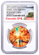 2017 Canada Great Canadian Outdoors - Nature Walk at Sunrise 3/4 oz Silver Colorized Glow in the Dark Proof $15 Coin NGC PF70 UC ER Exclusive Canada Label