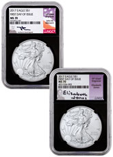 2017 American Silver Eagle NGC MS70 FDI Black Core Holder Mercanti & Jones Signed Labels