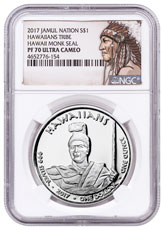 2017 Native American Silver Dollar - Hawaiian Indians - Monk Seal 1 oz Silver Proof Coin NGC PF70 UC Native American Label