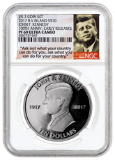 2017 British Virgin Islands John F. Kennedy - From 2-Coin Set 1 oz Silver Proof $1 Coin NGC PF69 UC ER Ask Not Label