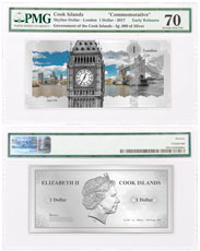 2017 Cook Islands Famous Skylines - London Foil Note 5 g Silver Prooflike $1 PMG Gem Unc 70 ER