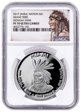 2017 Native American Silver Dollar - Indiana Miami - Mink 1 oz Silver Proof Coin NGC PF70 UC Native American Label