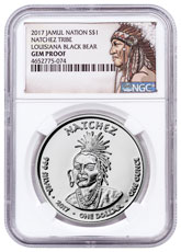 2017 Native American Silver Dollar - Louisiana Natchez - Black Bear 1 oz Silver Proof Coin NGC GEM Proof Native American Label