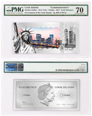2017 Cook Islands Famous Skylines - New York Foil Note 5 g Silver Prooflike $1 PMG Gem Unc 70 ER
