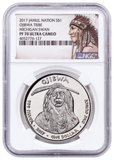 2017 Native American Silver Dollar - Michigan Ojibwa - Swan 1 oz Silver Proof Coin NGC PF70 UC Native American Label